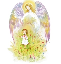 Beautiful angel with wings flying over baby girl vector image