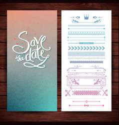 blue and pink save the date text and borders vector image