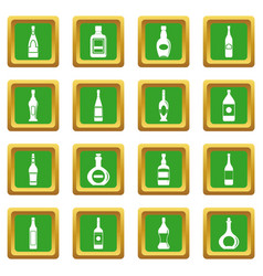 bottle forms icons set green vector image