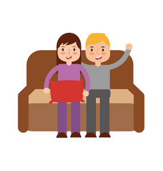boy and girl sitting in the sofa vector image