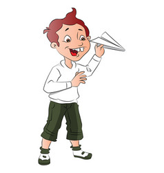 boy playing with paper rocket vector image