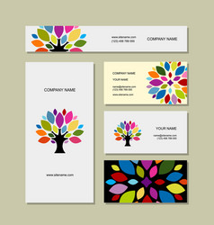 business cards collection art tree design vector image