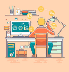 Business man working online vector