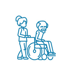 Care for the elderly linear icon concept care for vector