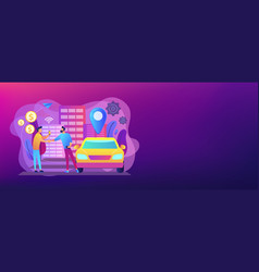 Carsharing service concept banner header vector
