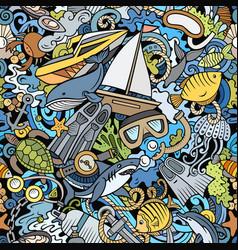 Cartoon doodles diving seamless pattern vector