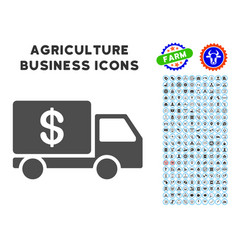 cash delivery icon with agriculture set vector image