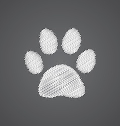 Cat footprint sketch logo doodle icon vector