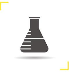 Chemistry lab beaker icon vector
