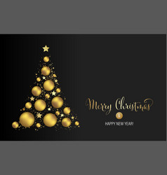 christmas background with gold baubles vector image