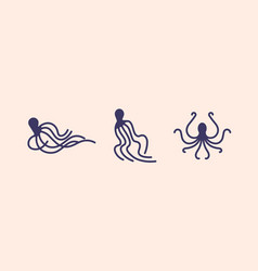 collection octopus silhouettes isolated on vector image