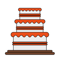 Color image wedding cake with cream vector