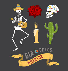 Colorful symbols for dia de los muertos day of the vector
