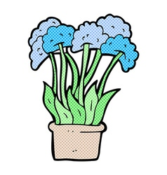 comic cartoon flowers in pot vector image