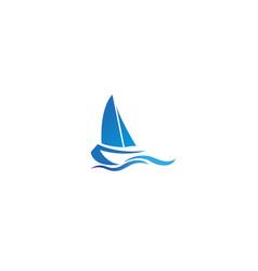 creative blue yacht boat logo design symbol vector image