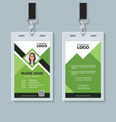 Creative green id card design template vector