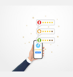 Customer review rating concept hand holding vector