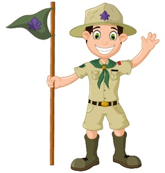 Cute boy scout cartoon holding pole yelling vector