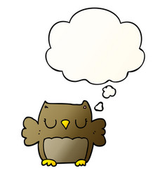 Cute cartoon owl and thought bubble in smooth vector