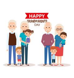 Cute grandparents couple with grandchildren vector