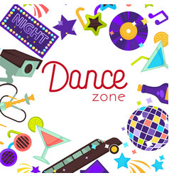 Dance zone night club disco poster vector