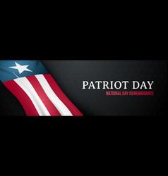 dark horizontal banner for patriot day 911 vector image
