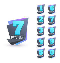 day to go numbers days left countdown business vector image