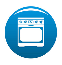 Domestic gas oven icon blue vector