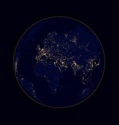 earth sphere lights of cities africa europe and vector image