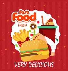 fast food advertisement hamburger chips vector image