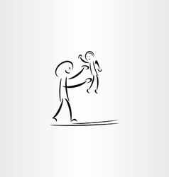 Father man play with child drawing vector