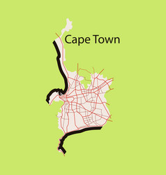 Flat icon map of capetown vector
