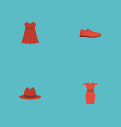 Flat icons sundress fedora evening dress and vector