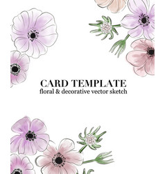 floral greeting invitation card template design vector image