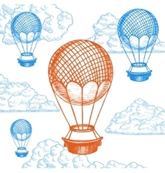 Fly Ballon on Sky Hand Draw Sketch vector image