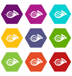 French horn icon set color hexahedron vector