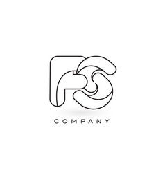 fs monogram letter logo with thin black monogram vector image