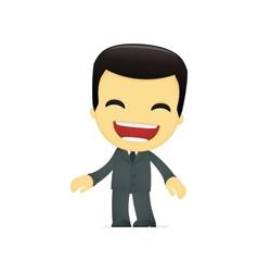 Funny cartoon asian businessman vector