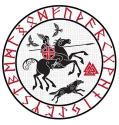 god wotan riding on a horse sleipnir with a spear vector image