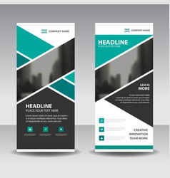 Green abtract business roll up banner flat design vector