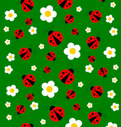 Green Meadow With Red Ladybugs And Flowers vector image
