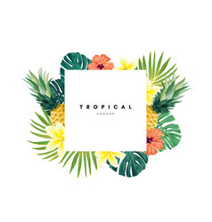 Green summer tropical background with exotic vector