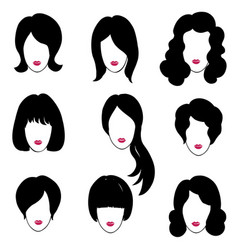 hair style set woman profile pretty girl face vector image