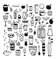 Hand Drawn Doodles of Dishware Black Sketchy vector