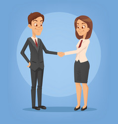 happy smiling businesswoman and businessman vector image