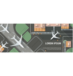 Horizontal banner with airplane taxiing and vector