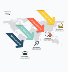 infographic elements with icons on map background vector image