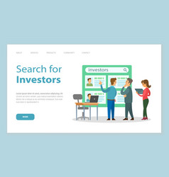 Landing page website search for investors vector