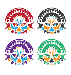 Latin american native colorful masks set design vector
