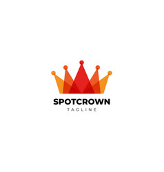 Layered red king crown with spotlight logo design vector